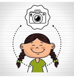 girl cartoon cap icon vector image
