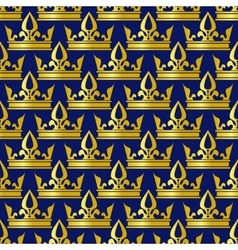 Golden crowns blue seamless pattern vector