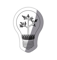 Grayscale contour sticker with bulb light and tree vector