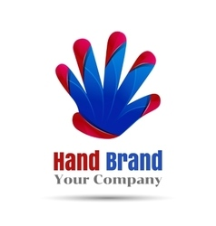 Hand logo people teamwork icon education vector