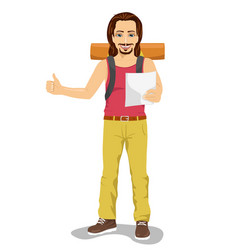 hitchhiking man with backpack holding map vector image