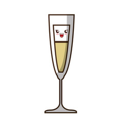 Kawaii cocktail drink icon vector