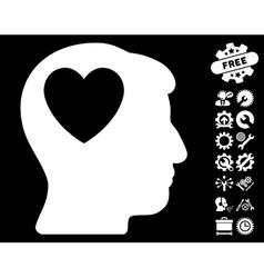 Love heart think icon with tools bonus vector
