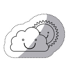 monochrome contour sticker of smiling cloud with vector image