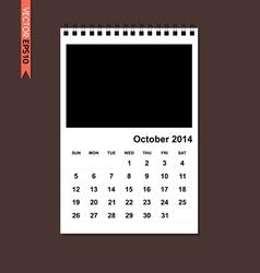 October 2014 calendar vector image vector image