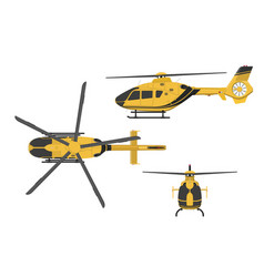 Orange helicopter side front top view vector
