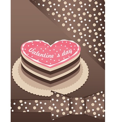 pink cake with chocolate vector image