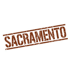 Sacramento brown square stamp vector