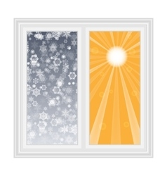 Save heat postcard open window with snowflakes vector