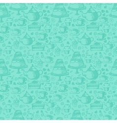 Seamless hand written pattern for tea time theme vector
