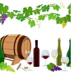 Seamless horizontal borders of wine icons vector