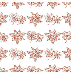 Seamless pattern with clover and hop vector