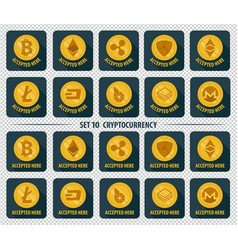 Set of 10 flat currency cryptocurrency icon vector