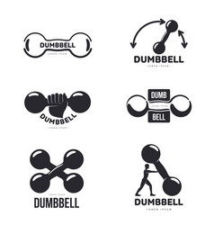 set of black and white graphic dumbbell logo vector image