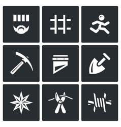 Set of prison icons prisoner detention vector