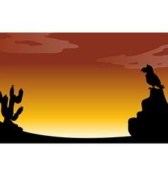 Silhouette desert vector image
