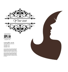 silhouette of a girl with long hair and pattern vector image