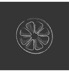 Slice of lemon drawn in chalk icon vector