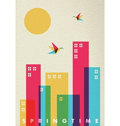 Spring time season diversity colors city concept vector