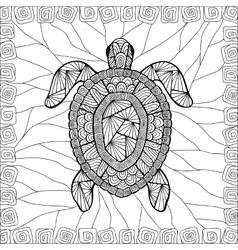 Stylized turtle style zentangle vector image