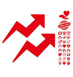 trends icon with valentine bonus vector image vector image