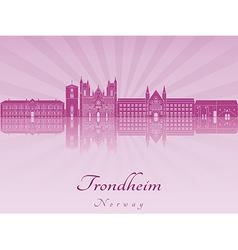 Trondheim skyline in purple radiant orchid vector
