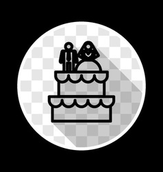 Wedding cake with bride and groom figurines vector