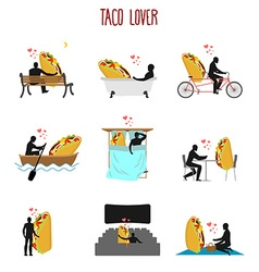 Lover taco set love to mexican food collection man vector