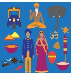India symbols set hinduism design elements south vector