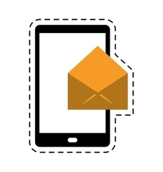 cellphone message email envelope cut line vector image