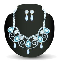 Necklace with blue jewels and pearls vector