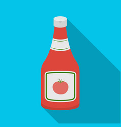 bottle of ketchupburgers and ingredients single vector image