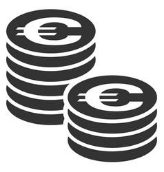 Euro coin columns flat icon vector
