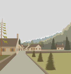 Mountain village landscape vector