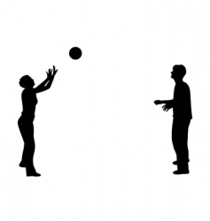 playing with ball silhouette vector image