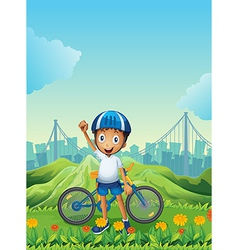 A boy and his bike standing across the tall vector
