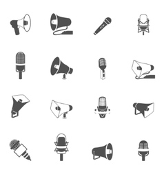 Microphone and megaphone icons black vector