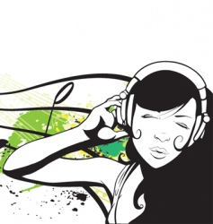 Young woman with headphones vector