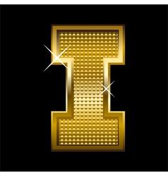 Golden font type letter I vector image