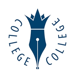 Logo nib and crown for college vector