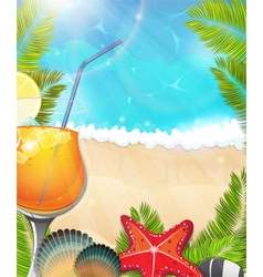 Cocktail on tropical background2 vector
