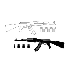 Assault rifle with bullets contour silhouette vector