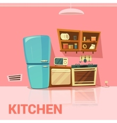 Kitchen retro design vector