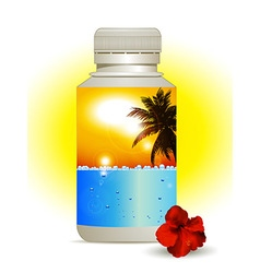 Summer holidays in a bottle background vector