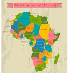 Editable map of africa with all countries vector