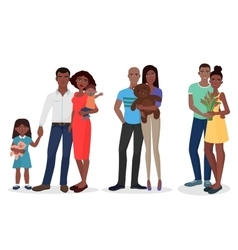 Black people family couple set man and woman vector