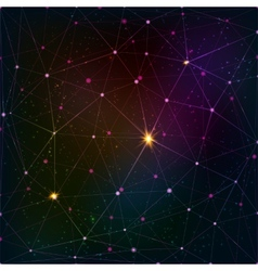 Abstract triangle grid on cosmic background vector