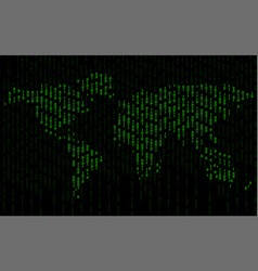 abstract world map of binary computer code vector image