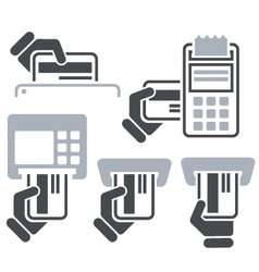 Atm pos-terminal and hand credit card icons vector