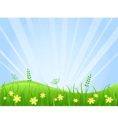 Beautiful green meadow scene vector